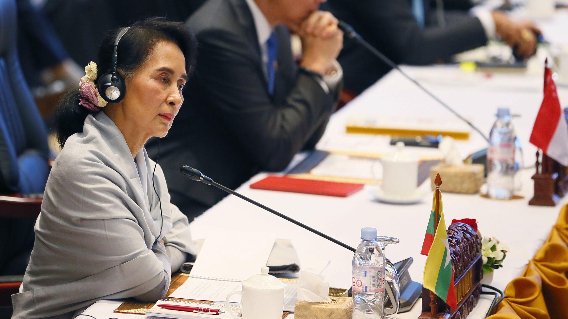 Министр иностранных дел Мьянмы Аун Сан Су Чжи на саммите АСЕАН в Лаосе - РИА Новости, 1920, 01.03.2021