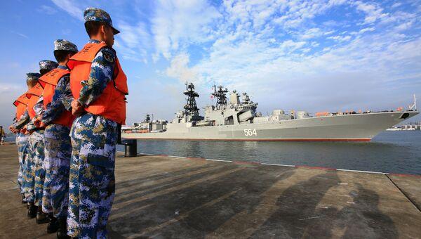 Прибытие российских кораблей в порт города Чжаньцзян для участия в учениях Морское взаимодействие-2016