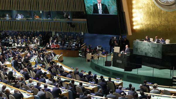 Президент России Владимир Путин выступает на пленарном заседании 70-й сессии Генеральной Ассамблеи ООН в Нью-Йорке.