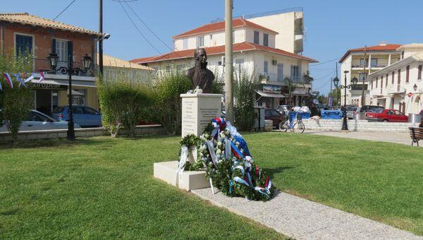 Памятник святому Федору Ушакову в Греции, на острове Лефкада