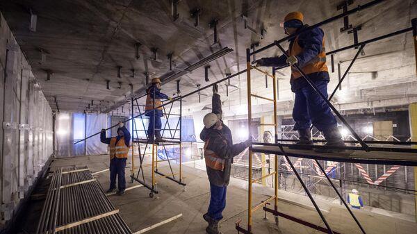 Отделочные работы на станции метро Петровский парк, которая будет интегрирована со станцией Динамо