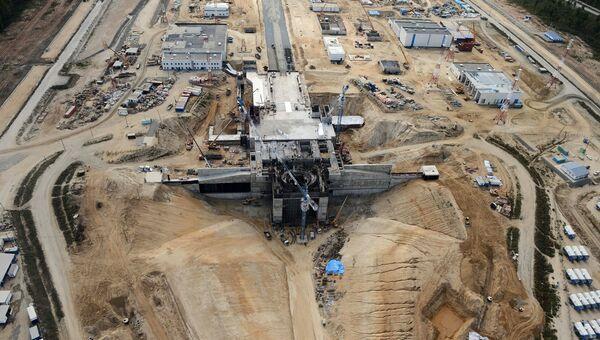 Вид с борта вертолета на строительную площадку космодрома Восточный. Архивное фото