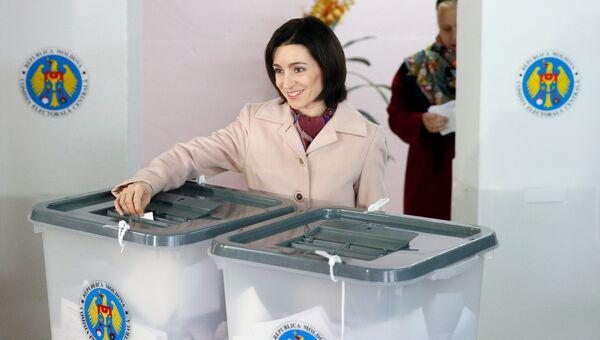 Майя Санду во время выборов в Молдавии