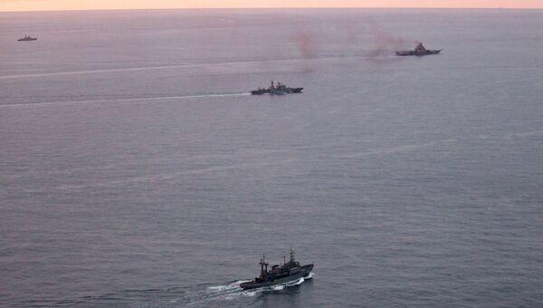 Авианосная группа Северного флота России в Норвежском море