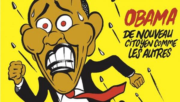 Обложка журнала Charlie Hebdo с карикатурой убегающего от полицейских Барака Обамы