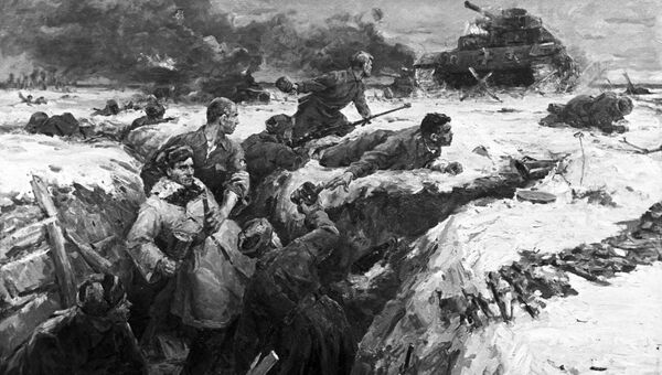 Репродукция картины Подвиг гвардейцев-панфиловцев работы художника Виктора Панфилова. Архивное фото