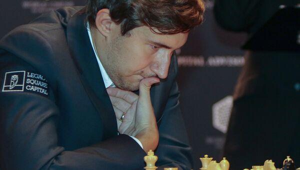 Гроссмейстер Сергей Карякин в тай-брейке матча за звание чемпиона мира по шахматам 2016 в Нью-Йорке. 30 ноября 2016