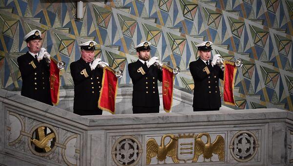 Музыканты выступают на церемонии вручения Нобелевской премии мира в Осло