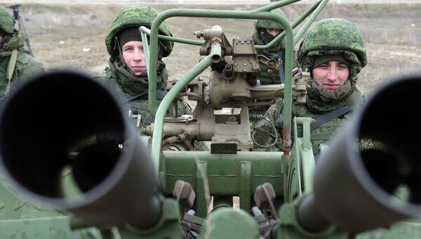 Зенитная артиллерийская установка ПВО РФ на учениях в Крыму. Архивное фото