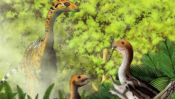 Так художник представил себе травоядных взрослых цератозавров и их плотоядных детенышей