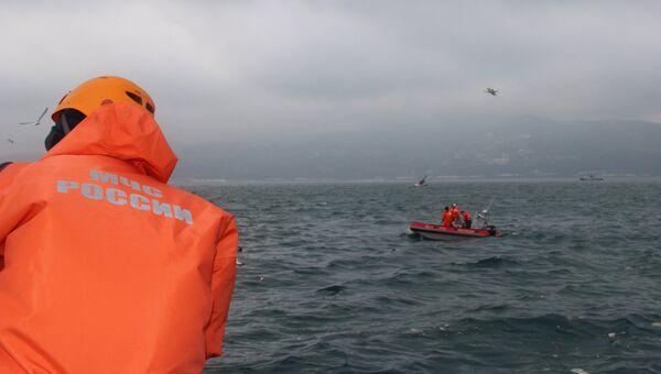 Поисково-спасательные работы у побережья Черного моря, где потерпел крушение самолет Минобороны РФ Ту-154. 25 декабря 2016