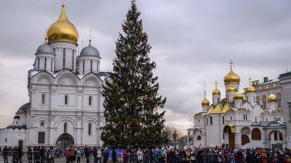 Родители с детьми в очереди на новогоднее представление в Государственном Кремлевском дворце в Москве