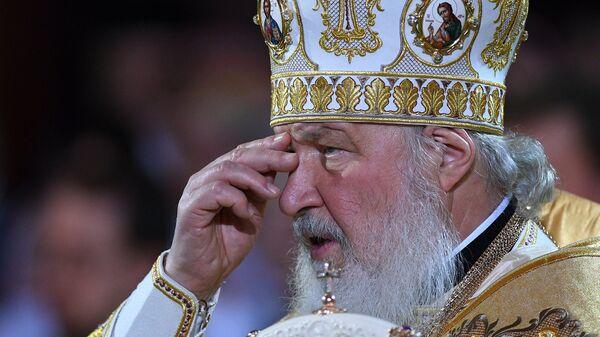 Патриарх Московский и всея Руси Кирилл на Рождественском богослужении в храме Христа Спасителя в Москве.
