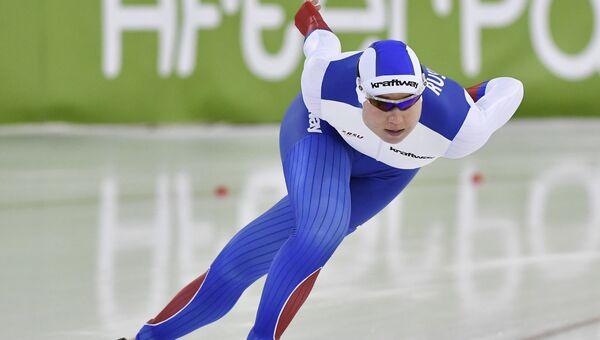 Россиянка Ольга Фаткулина в женской гонке на 1000 метров на ЧЕ в Херенвене, Нидерланды. 8 января 2017 г.