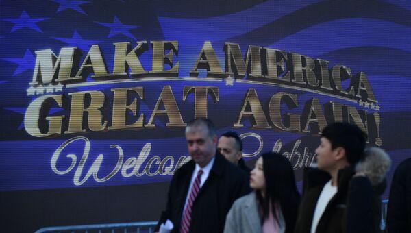 Подготовка к митингу избранного президента США Дональда Трампа и его сторонников у мемориала Линкольна в Вашингтоне