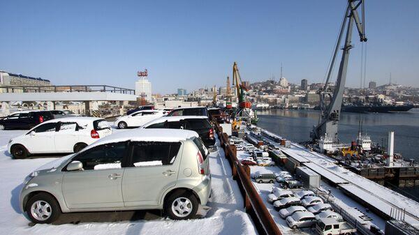 Склад временного хранения автомобильной техники на таможне во Владивостоке