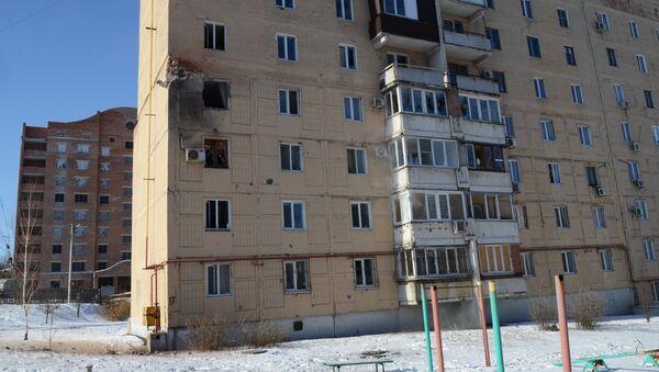 Жилое здание на улице Листопрокатчиков в Киевском районе Донецка, пострадавшее от обстрел