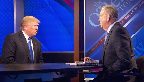 Телеведущий Билл О'Рейли и Дональд Трамп во время интервью на канале Fox News. Архивное фото