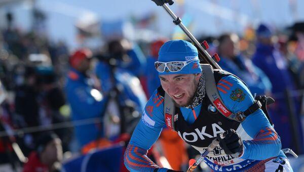 Александр Логинов (Россия) на дистанции смешанной эстафеты чемпионата мира по биатлону в австрийском Хохфильцене.