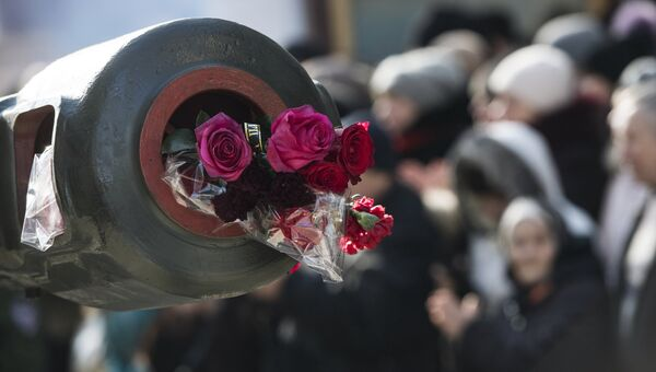 Прощание с командиром батальона ополчения ДНР Сомали Михаилом Толстых (позывной Гиви) в Донецке. Архивное фото