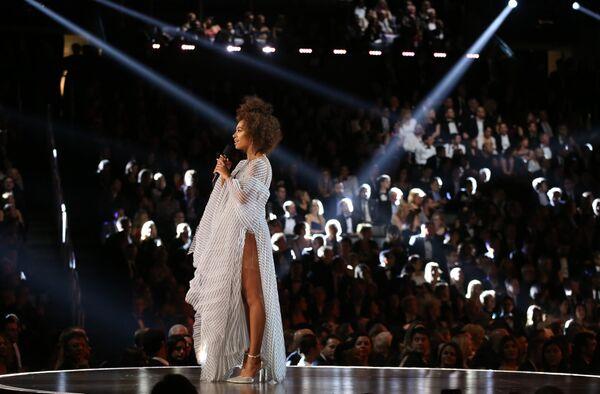 Певица Соланж Ноулз на 59-й ежегодной премии Грэмми в Лос-Анджелесе, 12 февраля 2017