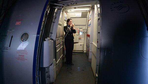 Бортпроводник авиакомпании Аэрофлот во время подготовки к рейсу самолета. Архивное фото