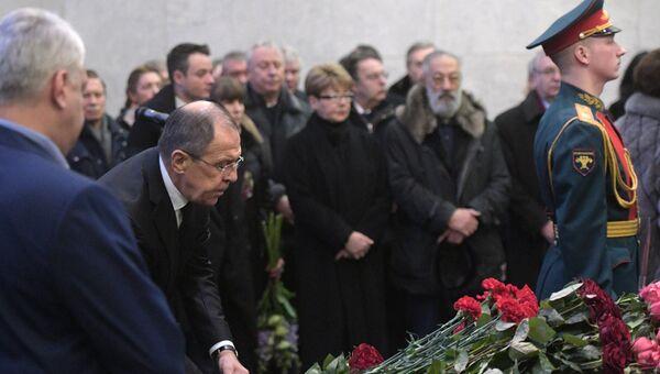 Министр иностранных дел РФ Сергей Лавров на церемонии прощания с постоянным представителем РФ при ООН Виталием Чуркиным