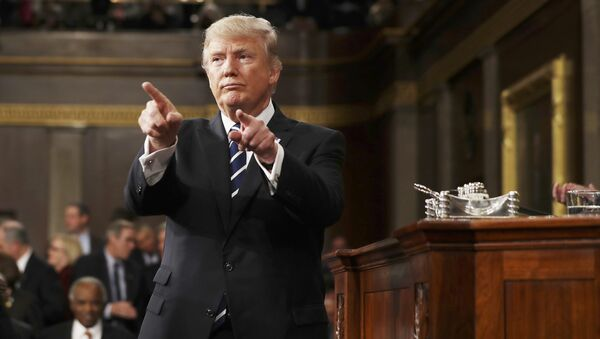 Президент США Дональд Трамп во время выступления перед конгрессом. 28 февраля 2017
