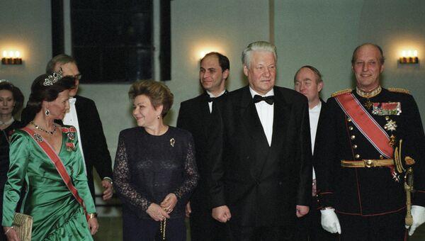 Официальный обед от имени короля Норвегии Харольда V и королевы Сони в честь Президента РФ Бориса Ельцина и его супруги Наины Ельциной
