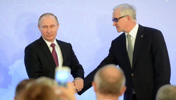 Владимир Путин и Александр Шохин во время съезда РСПП. 16 марта 2017