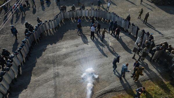 Сотрудники спецподразделений УФСИН, МВД и Национальной гвардии во время учений в Новосибирской области