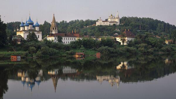 Вид на город Гороховец с левого берега Оки