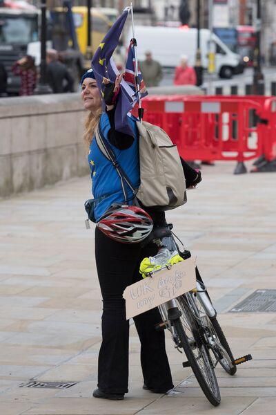 Противница выхода Великобритании из Европейского Союза на улице Лондона