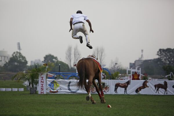 Солдат непальской армии демонстрирует навыки верховой езды во время ежегодного фестиваля лошадей в Катманду