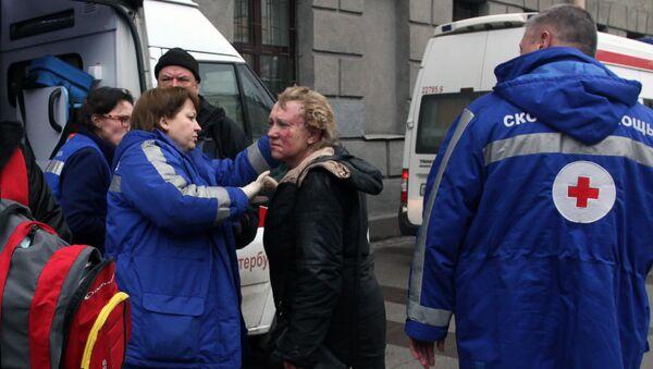 Пострадавшая в результате взрыва в метро Санкт-Петербурга у станции Технологический институт