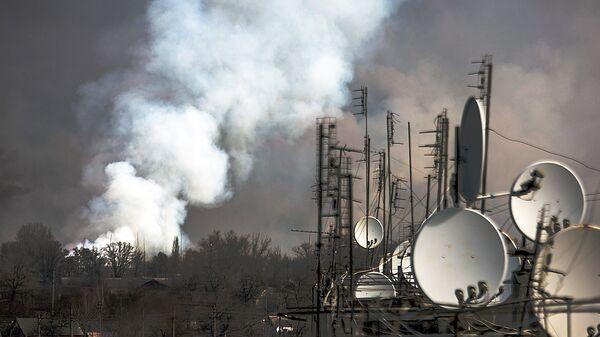 Пожар на военных складах боеприпасов в Харьковской области