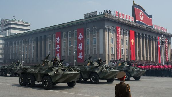 Парад в Пхеньяне, посвященный 105-й годовщине со дня рождения основателя КНДР Ким Ир Сена. 15 апреля 2017