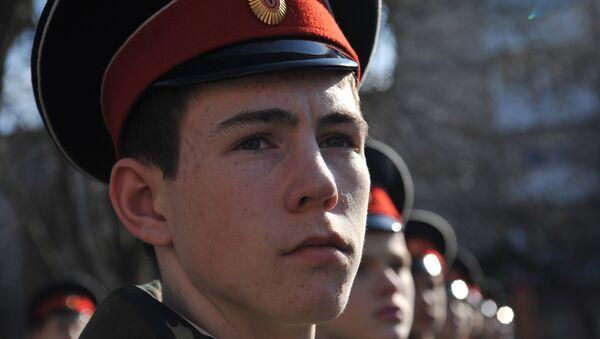 Подготовка кадетов казачьего корпуса к параду в Ростове-на-Дону