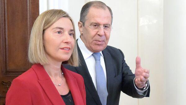Федерика Могерини во время встречи в Москве с министром иностранных дел Сергеем Лавровым. 24 апреля 2017