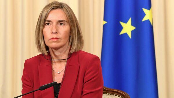 Федерика Могерини во время совместной пресс-конференции с Сергеем Лавровым. 24 апреля 2017