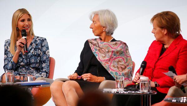 Иванка Трамп, Кристина Лагард и Ангела Меркель на саммите W20 в Берлине