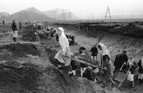 Женщины выкапывают противотанковые рвы. Донецкая область