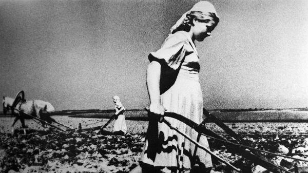 Женщины распахивают землю в годы Великой Отечественной войны