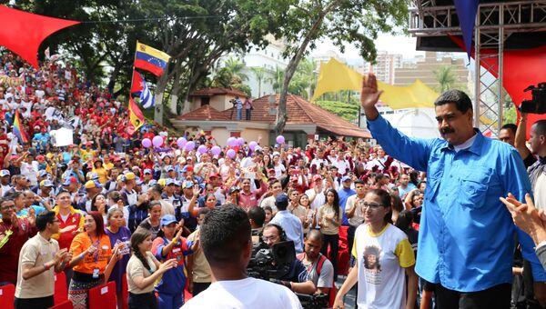 Президент Венесуэлы Николас Мадуро во время выступления в Каракасе. 26 апреля 2017