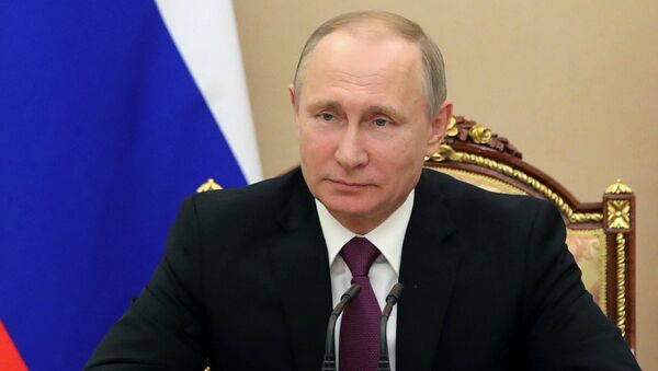 Президент РФ Владимир Путин проводит совещание с постоянными членами Совета безопасности РФ. 10 мая 2017