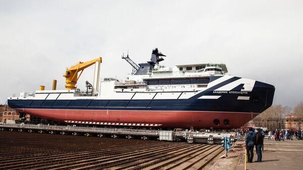 Спуск на воду судна Академик Александров