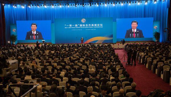 Председатель КНР Си Цзиньпин выступает на церемонии открытия Международного форума Один пояс, один путь в Пекине