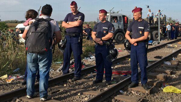 Сотрудники венгерской полиции и мигранты у сербско-венгерской границы. Архивное фото