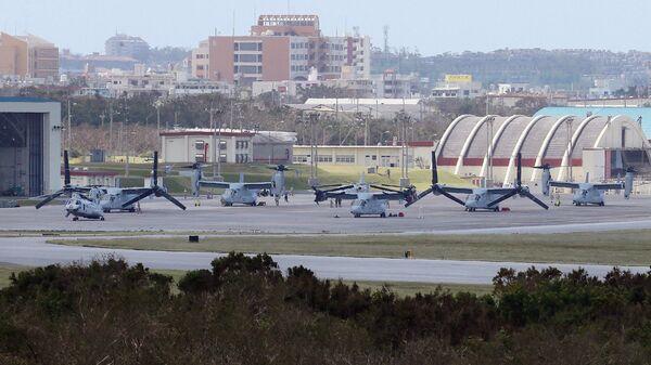 Самолеты США MV-22 Osprey на военной базе Футтэма, остров Окинава. Архивное фото