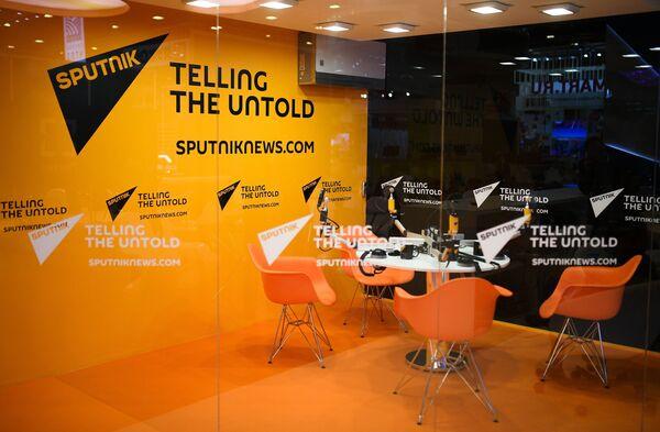 Студия радио Sputnik в Экспофоруме накануне открытия Санкт-Петербургского международного экономического форума 2017.
